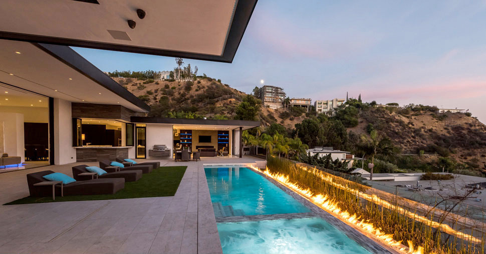 Vantage home exterior with swimming pool