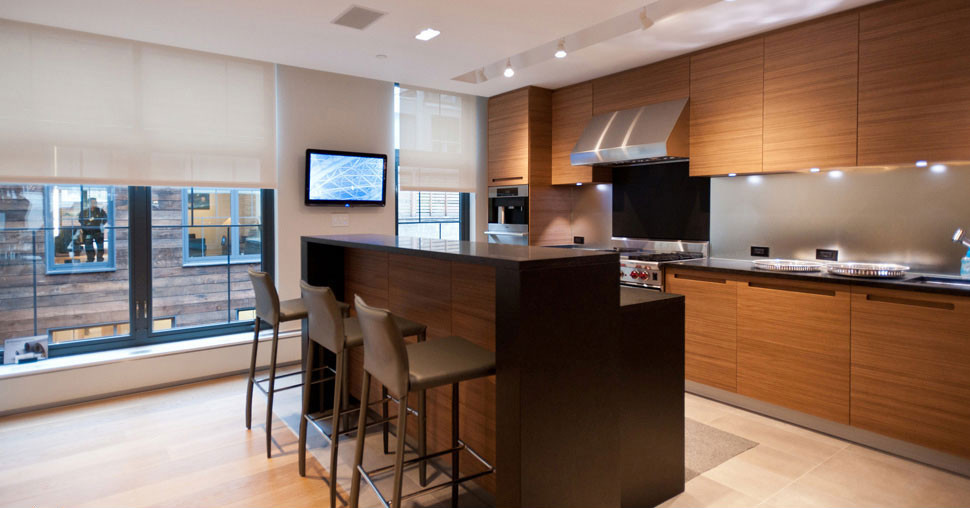Vantage kitchen scene with controllable blinds